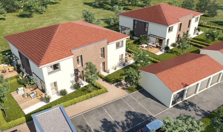Eaunes, Plein Centre Ville, Maison Mitoyenne T4 à étage avec jardin privatif.